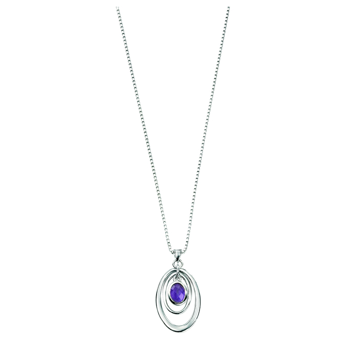 Sterling Silver Amethyst Chequerboard Ovals Pendant