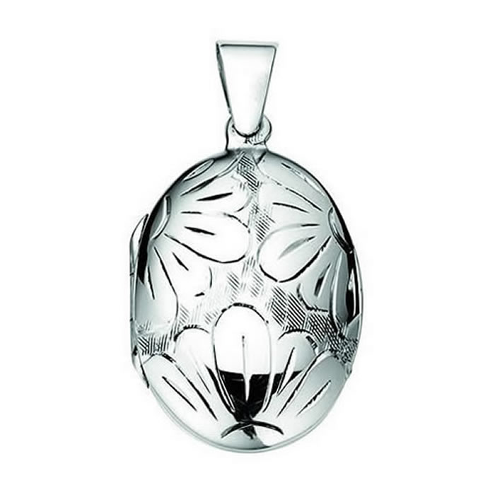 Sterling Silver Engraved Petals Oval Locket Pendant