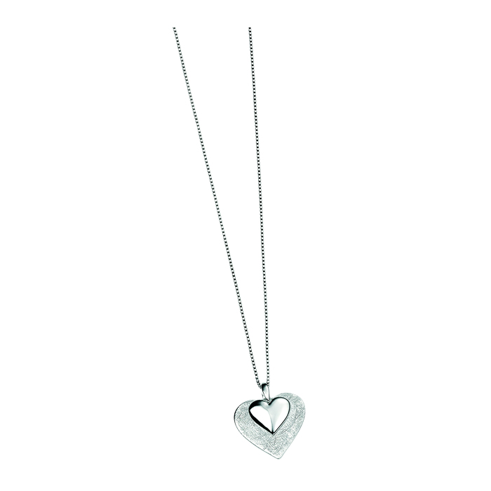 Sterling Silver Scratched And Polished Heart Pendant
