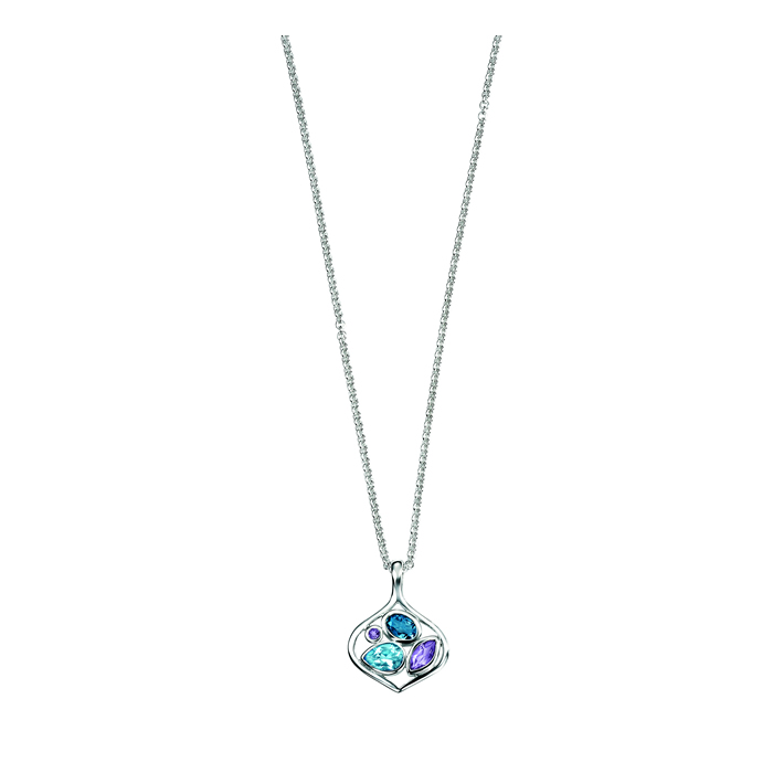 Sterling Silver London Blue Topaz And Amethyst Open Pendant