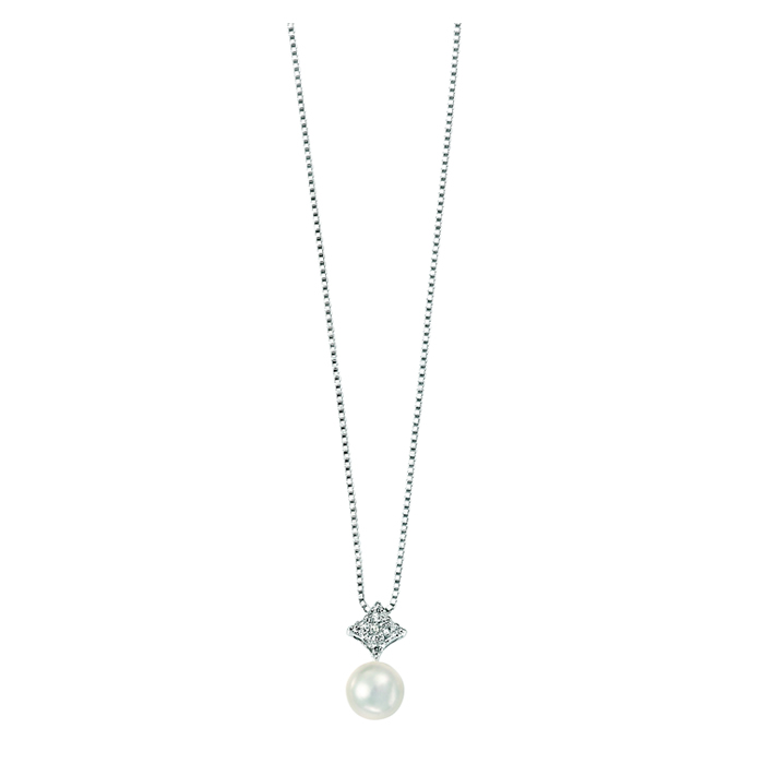Sterling Silver White Freshwater Pearl And Cubic Zirconia Pave Diamond Shape Pendant