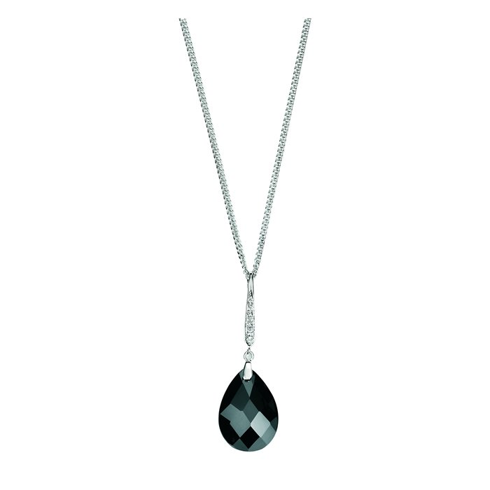 Sterling Silver Black Cubic Zirconia Teardrop And Pave Bail Pendant