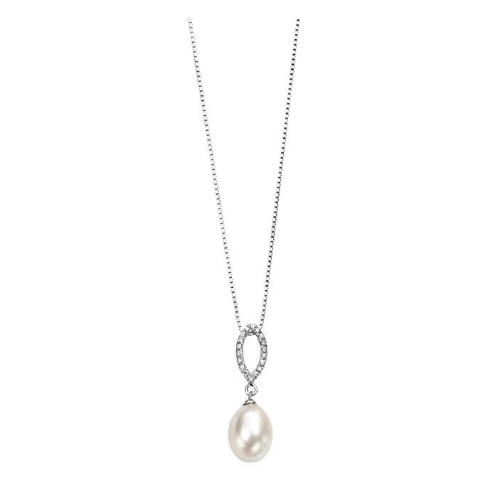 Sterling Silver White Freshwater Pearl And Clear Cubic Zirconia Marqse Pendant