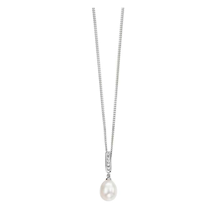 Sterling Silver White Freshwater Pearl And Cubic Zirconia Pendant