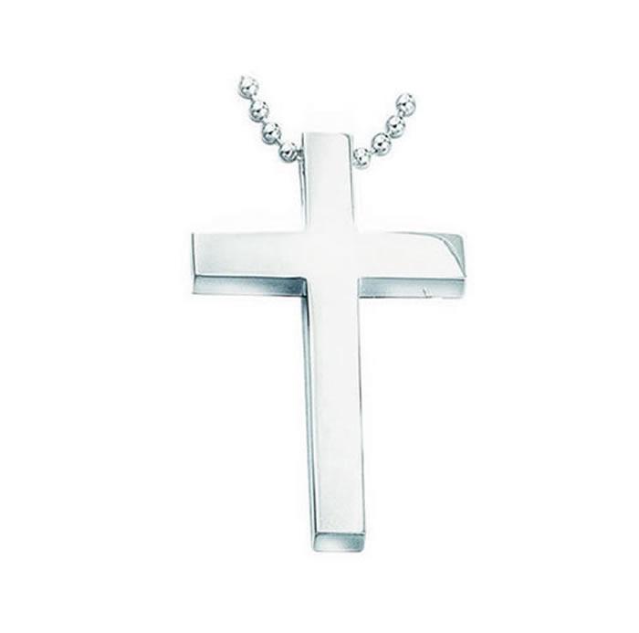 Sterling Silver Large Slider Plain Cross Pendant