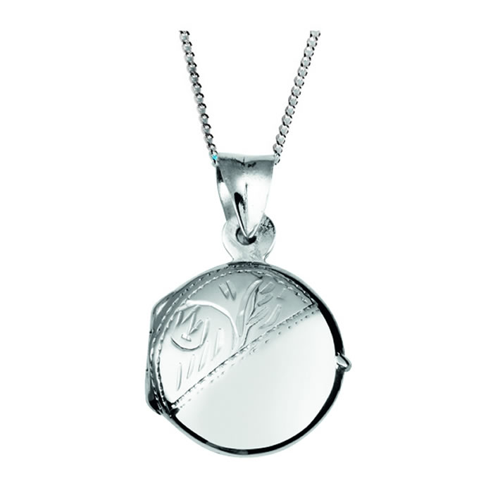 Sterling Silver Engraved Round Locket Necklace