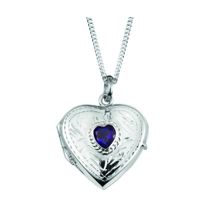 Sterling Silver Amethyst Heart Locket Necklace