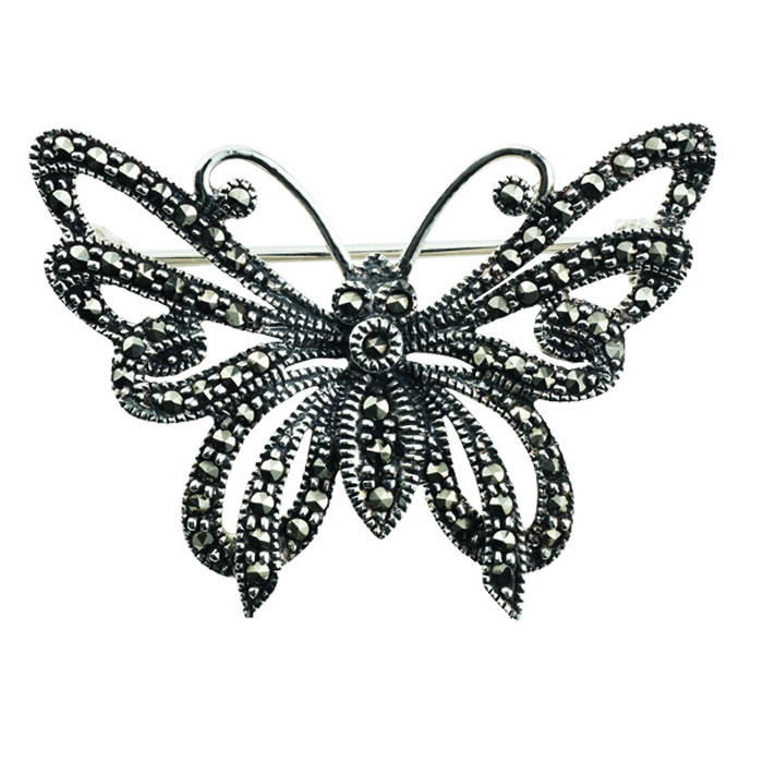 Sterling Silver Marcasite Patterned Butterfly Brooch