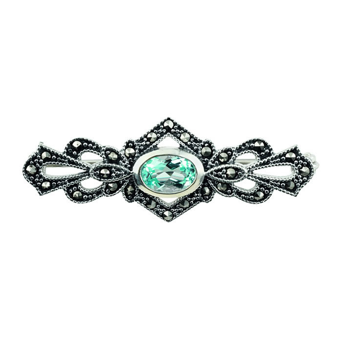 Sterling Silver Marcasite And Blue Topaz Brooch