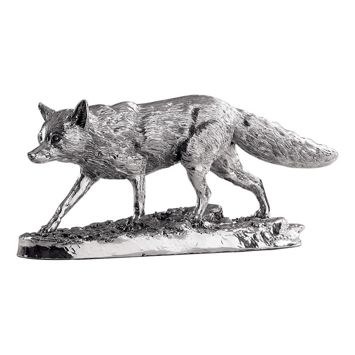 Sterling Silver Detailed Fox Sculpture
