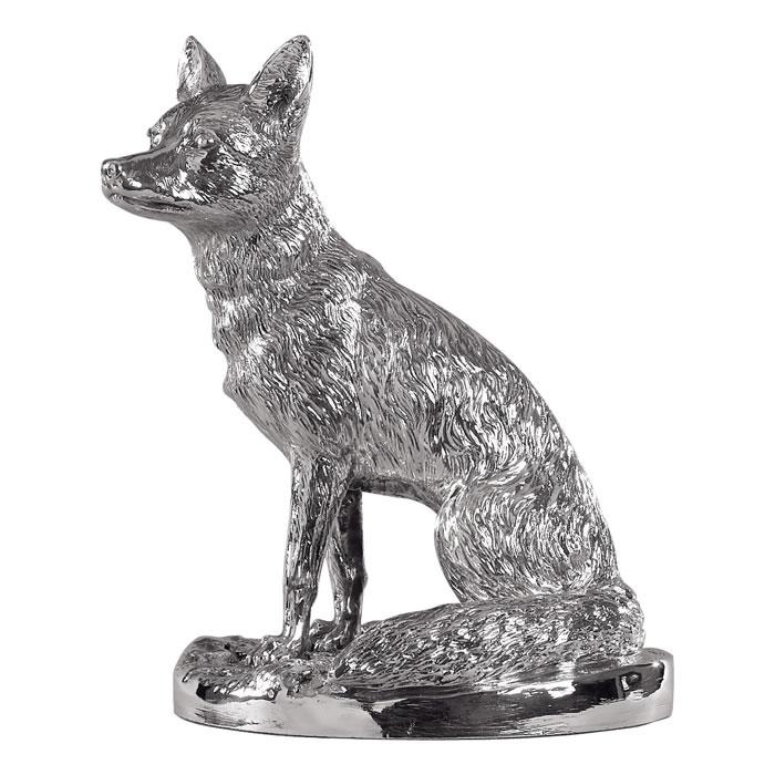 Sterling Silver Sitting Fox Sculpture