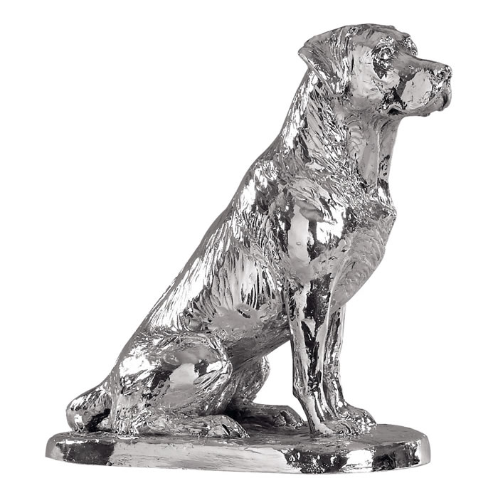Sterling Silver Sitting Labrador Sculpture