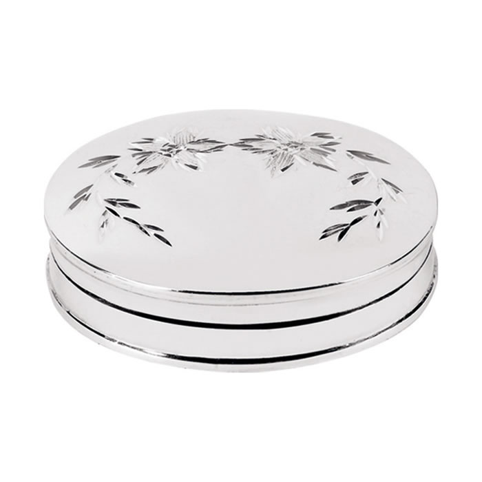 Sterling Silver Engraved Pill Box