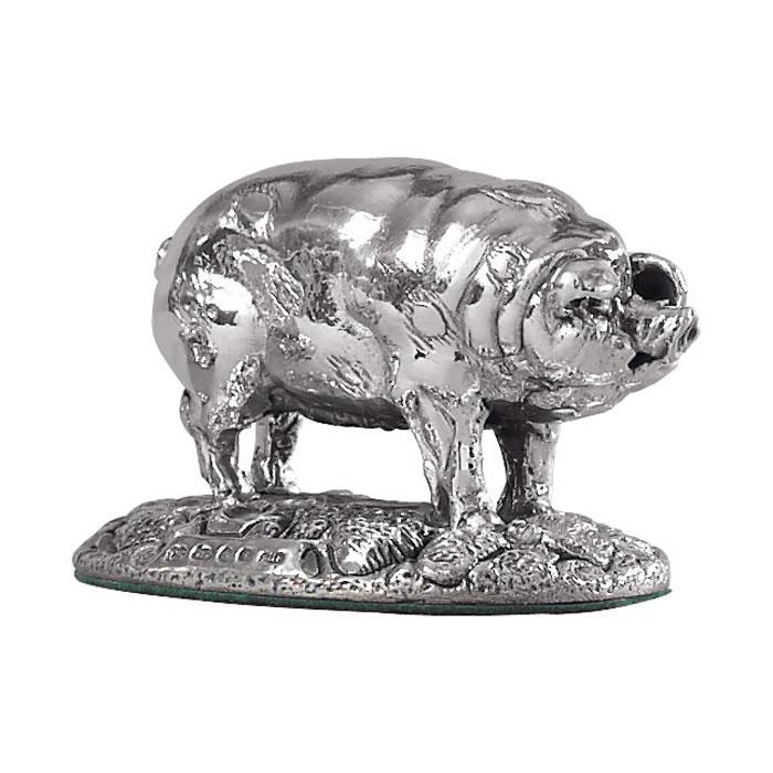Sterling Silver Pig Sculpture