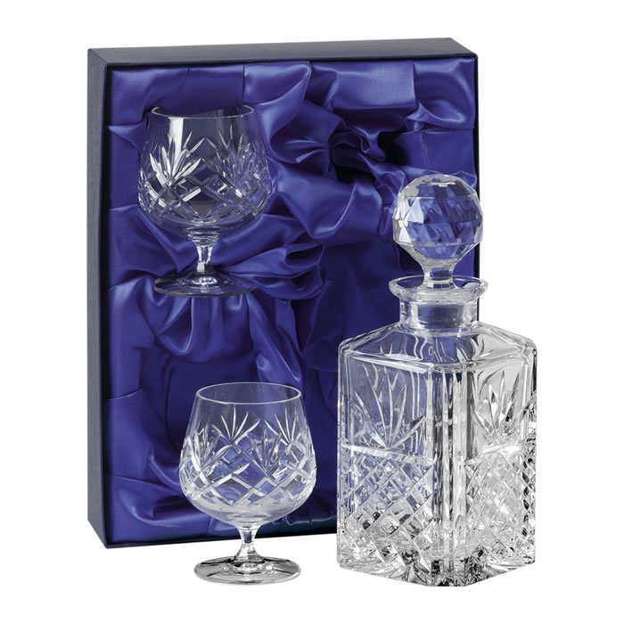 Crystal Brandy Decanter Set With Two Brandy Snifters