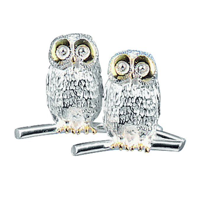 Sterling Silver Double Owl Brooch