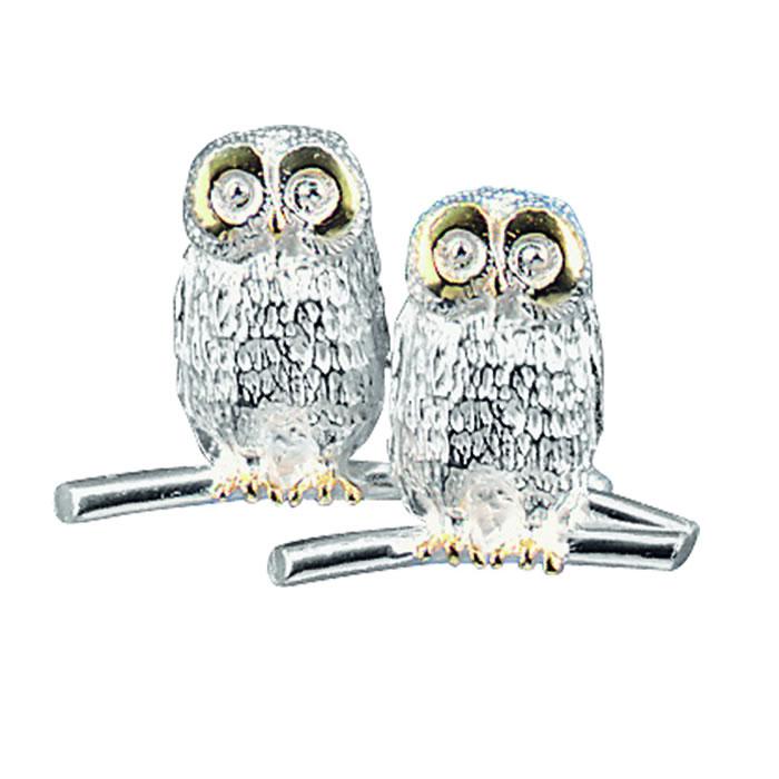 Sterling Silver Double Owl Brooch