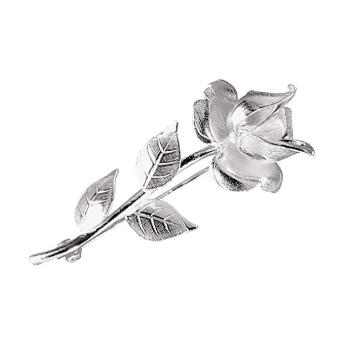 Sterling Silver Detailed Rose Stem Brooch