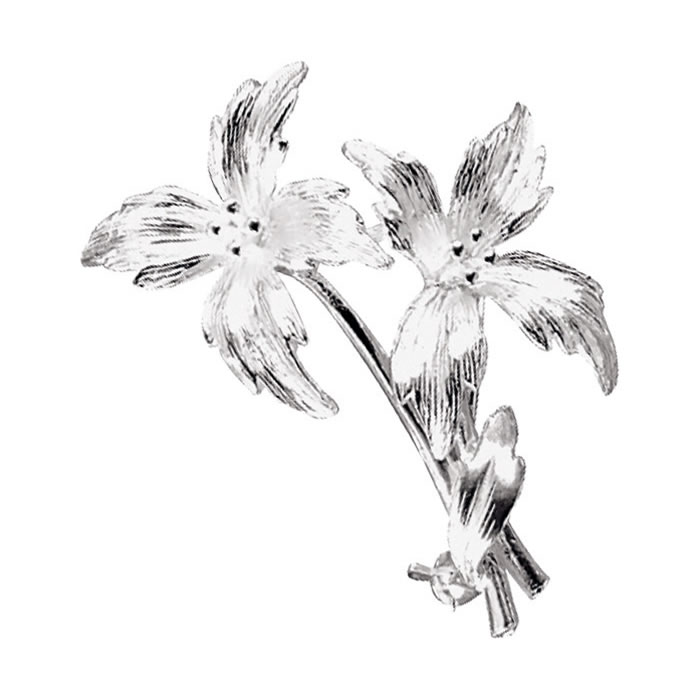 Sterling Silver Double Flower Brooch