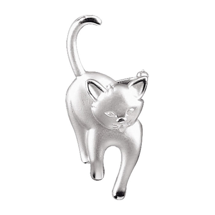 Sterling Silver Walking Cat Brooch