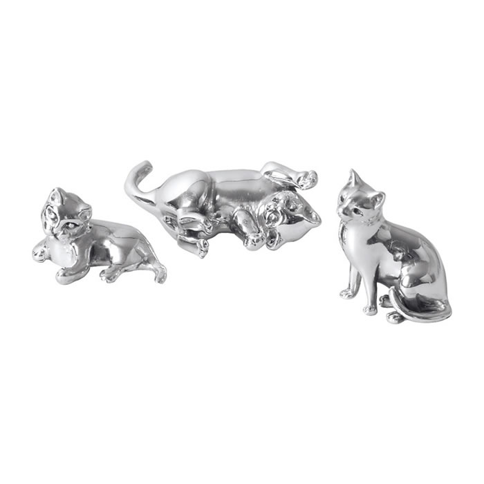 Sterling Silver Three Kitten Sculptures