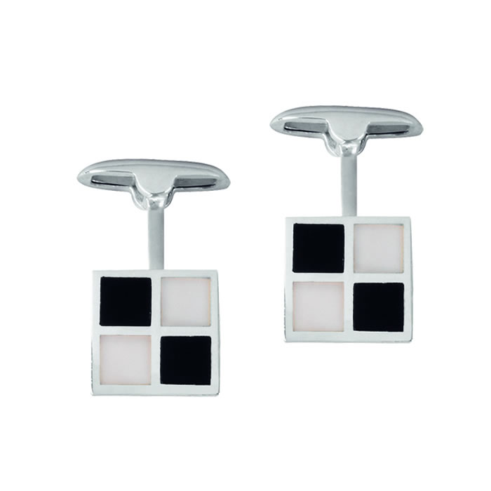 Sterling Silver Onyx And Mop Chequered Post Cufflinks