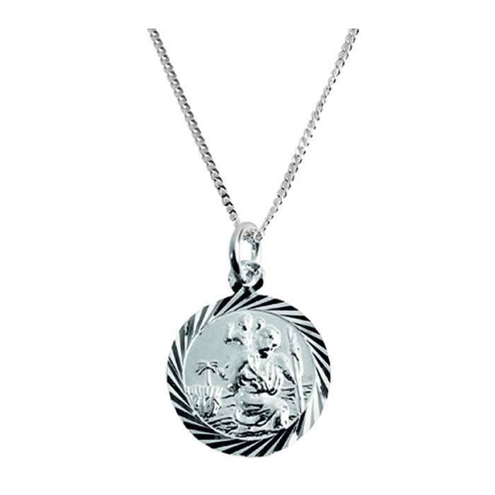 Sterling Silver Circular St Christopher Necklace