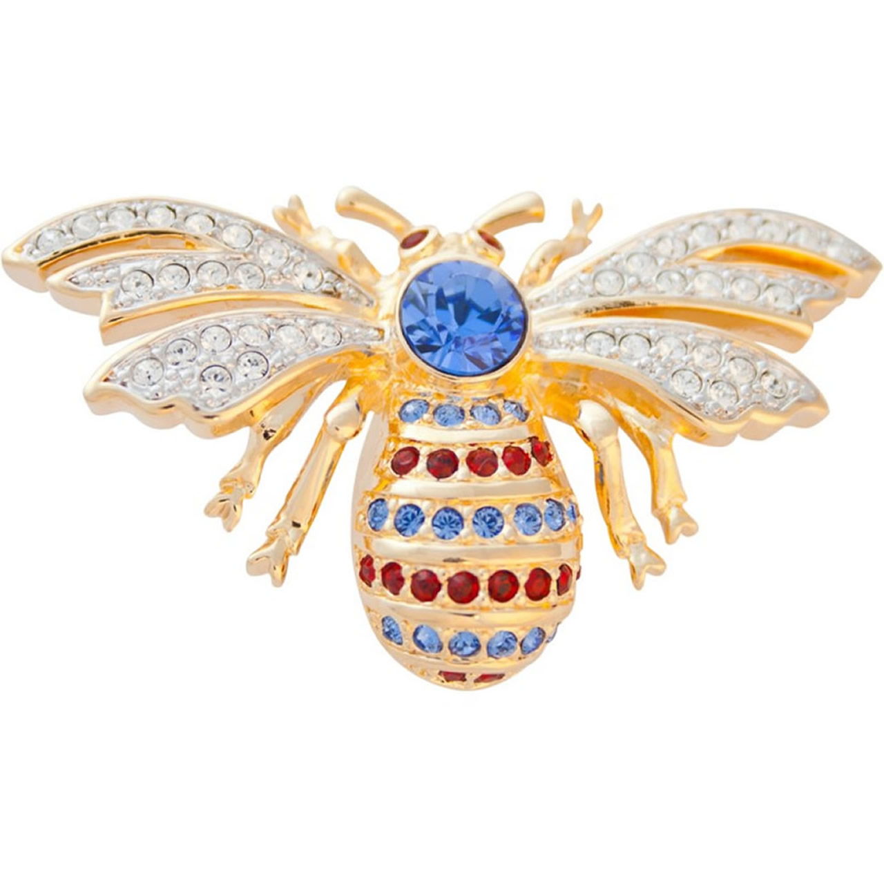 Gold Plated Bee Brooch With Colourful Austrian Crystals