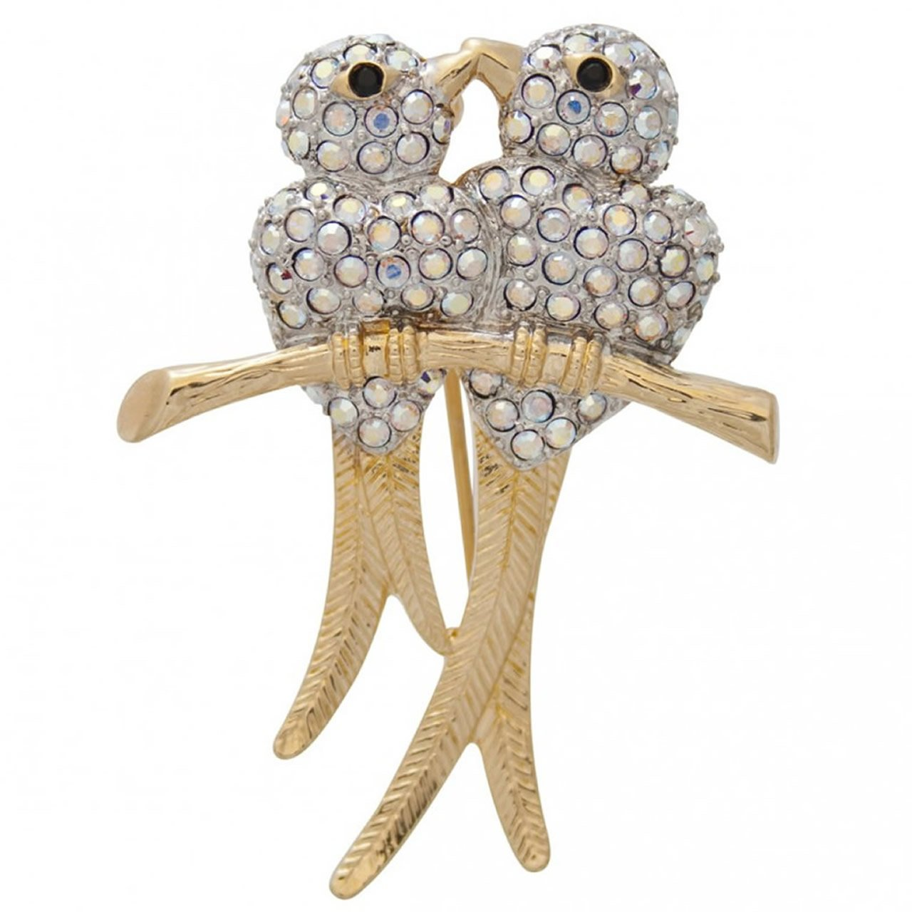 Gold Plated And Crystal Kissing Birds Brooch