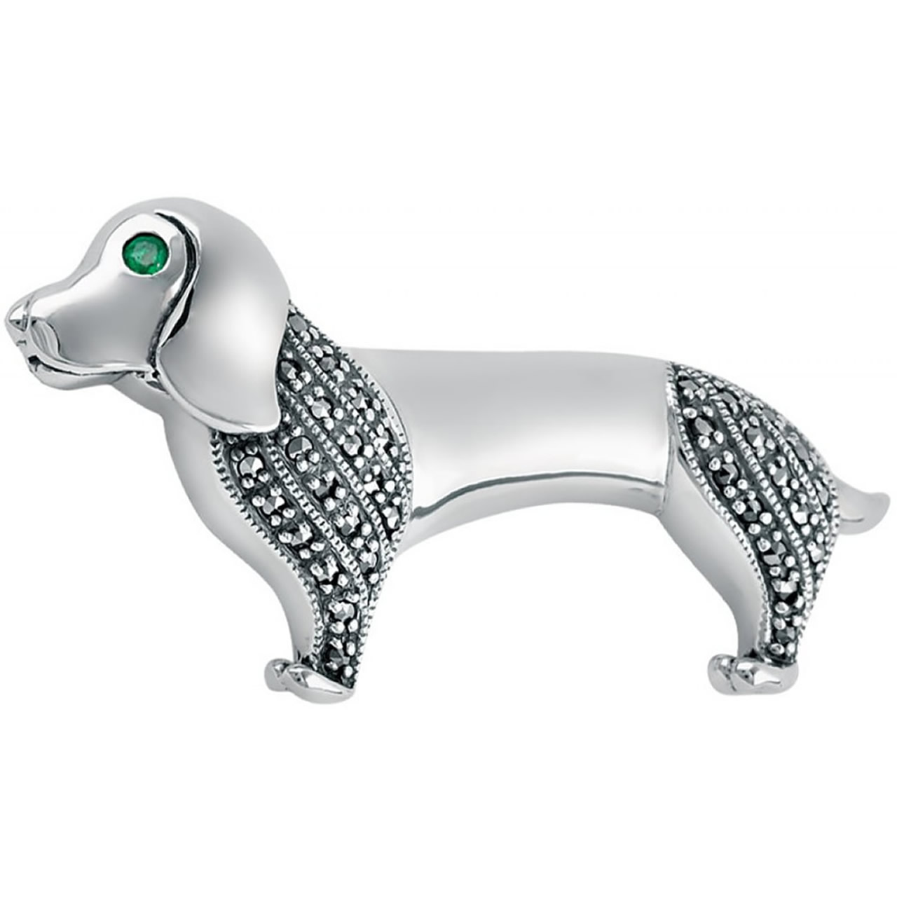 Sterling Silver Marcasite And Emerald Set Dachshund Dog Brooch