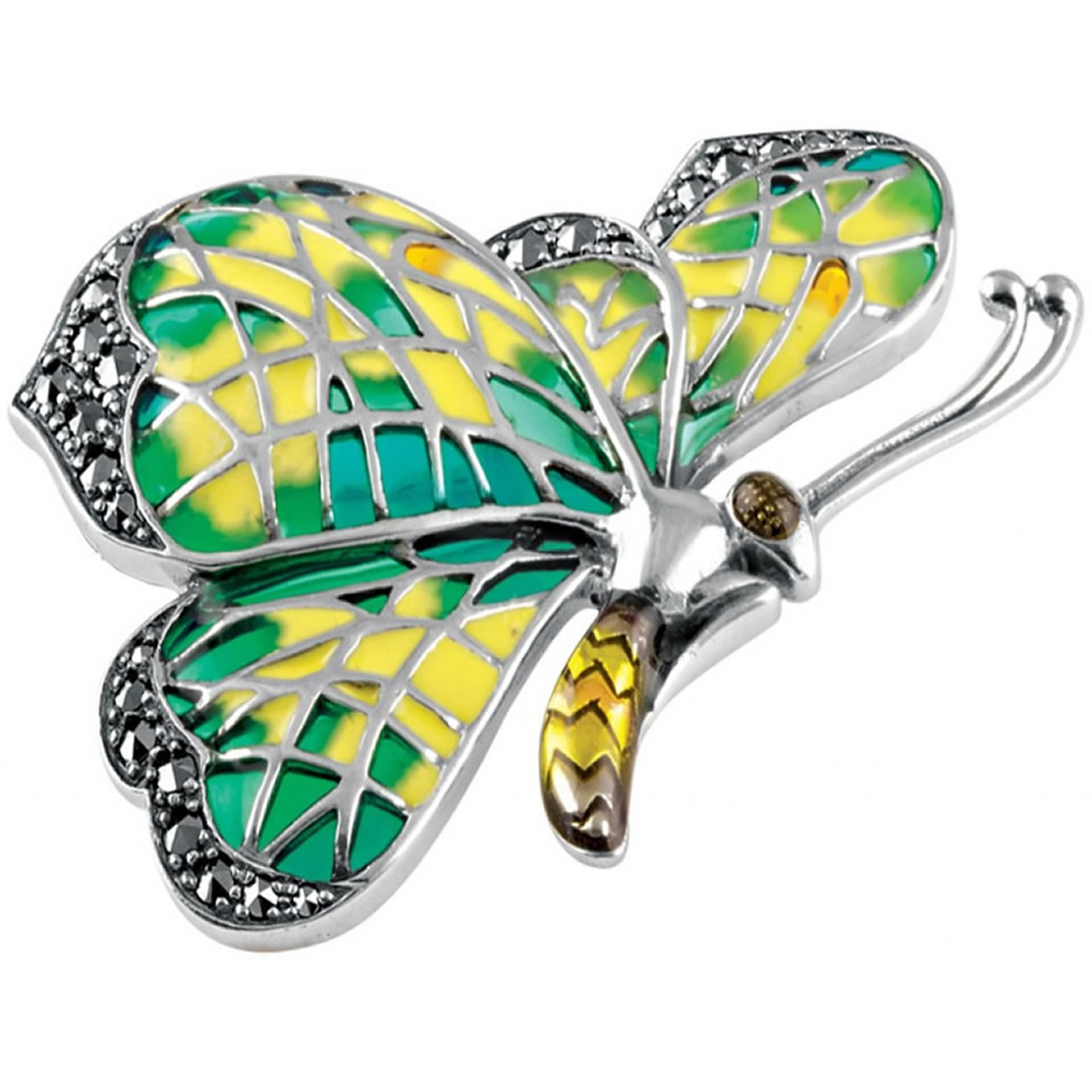 Sterling Silver Green And Yellow Enamel And Marcasite Set Butterfly Brooch And Pendant