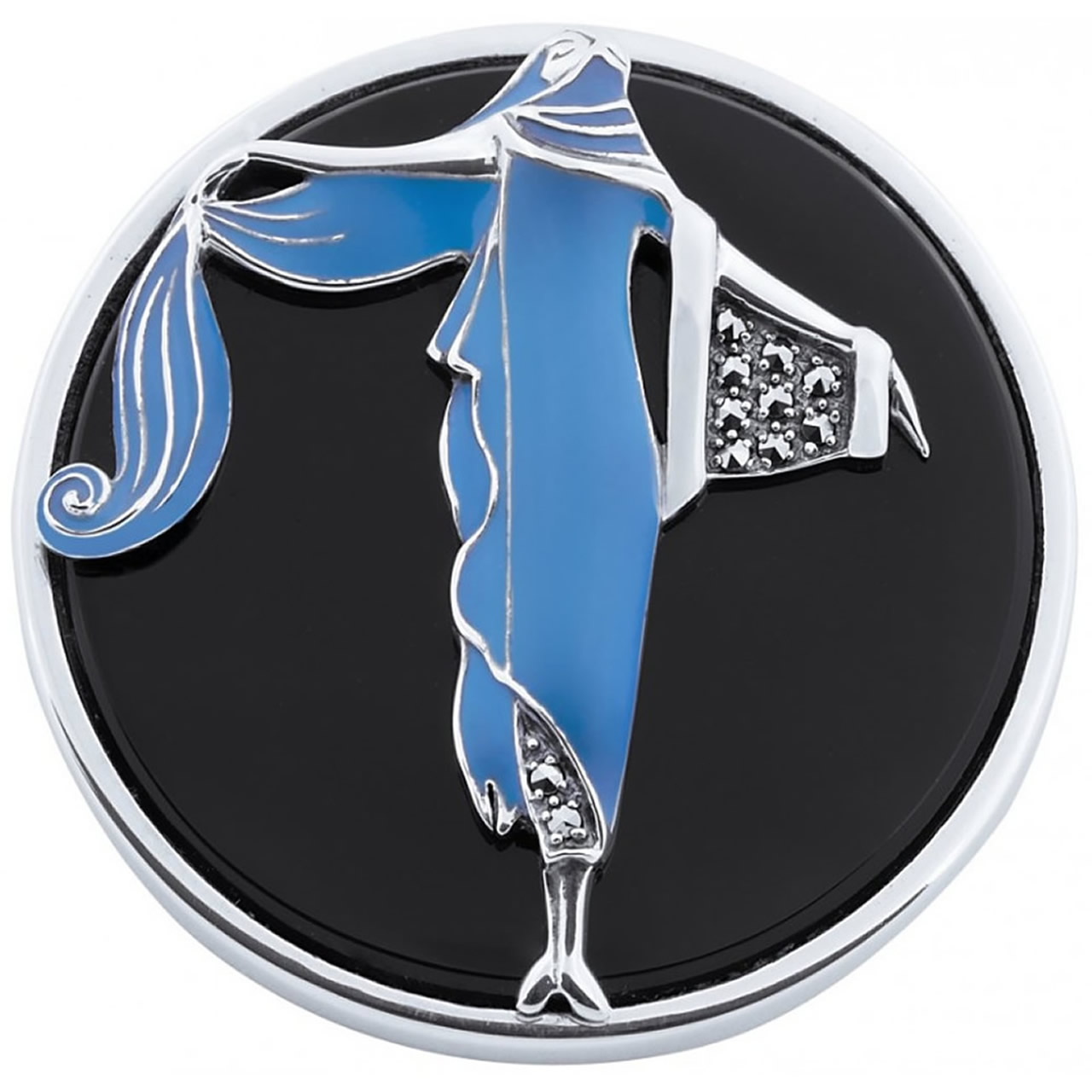 Sterling Silver Blue Enamel And Marcasite Set Lady On Onyx Brooch And Pendant
