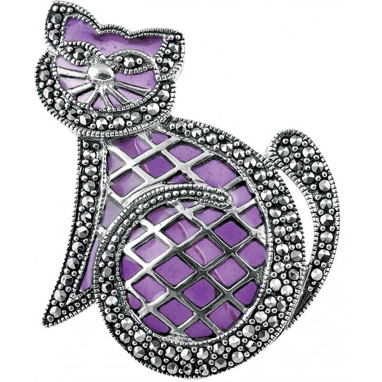 Sterling Silver Purple Enamel And Marcasite Set Cat Brooch