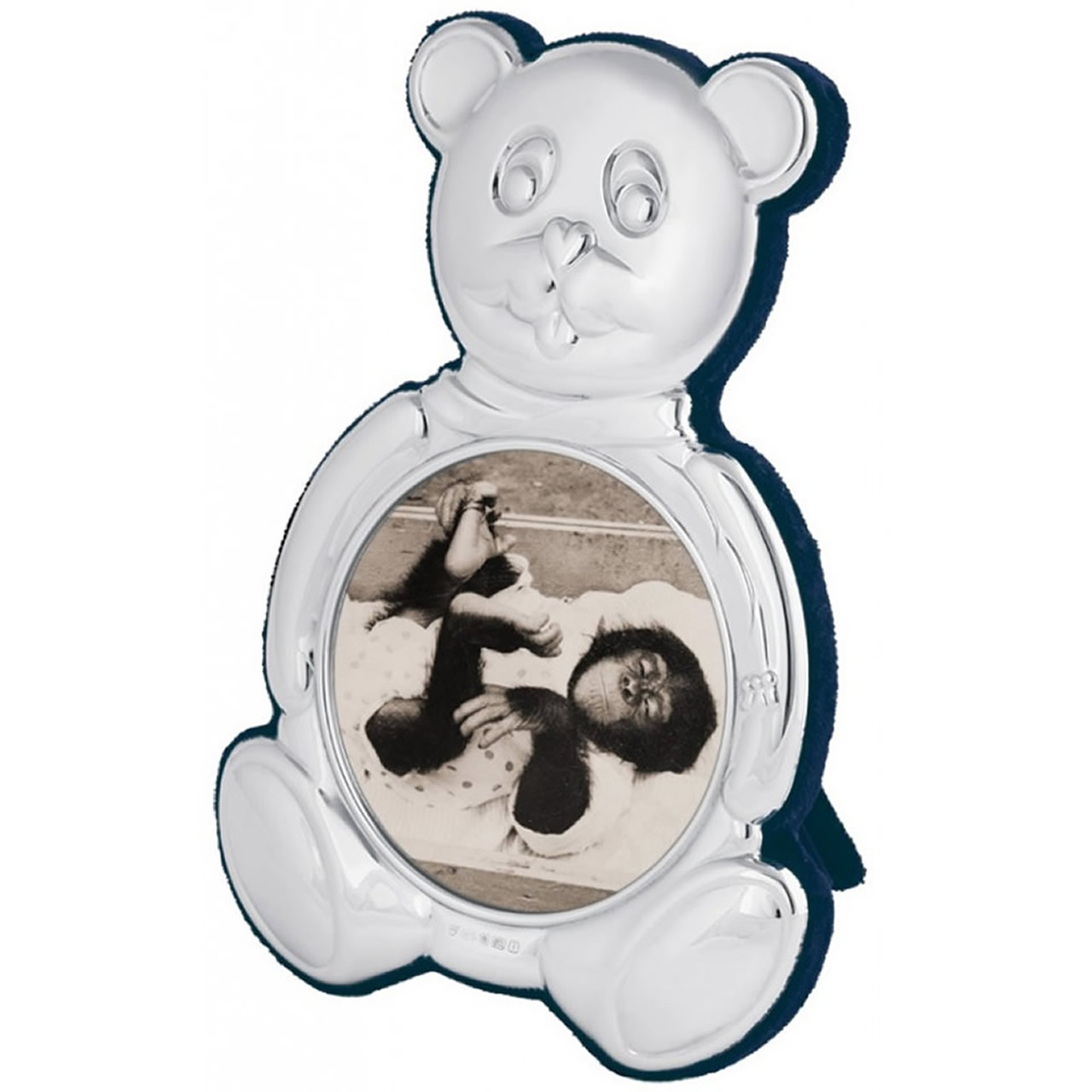 Sterling Silver 7cm Teddy Bear Shape Photo Frame With Blue Velvet Back