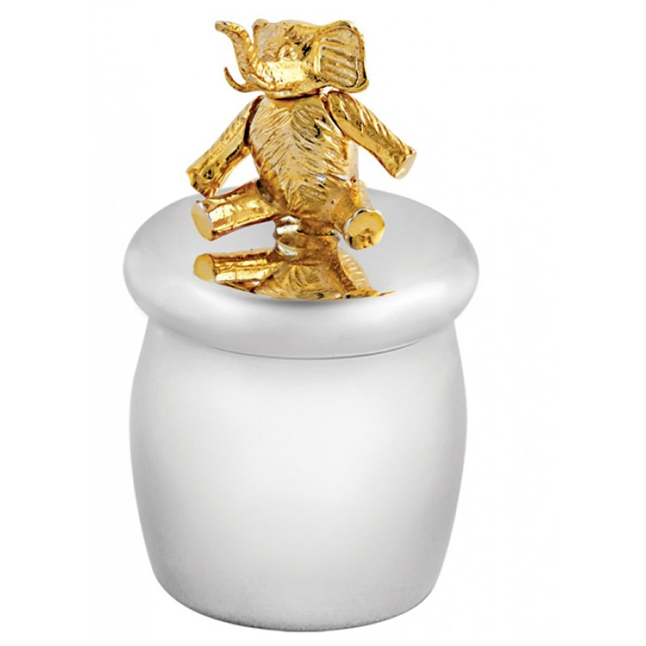 Sterling Silver Screw Top Tooth Fairy Box With Gold Plated Moving Elephant