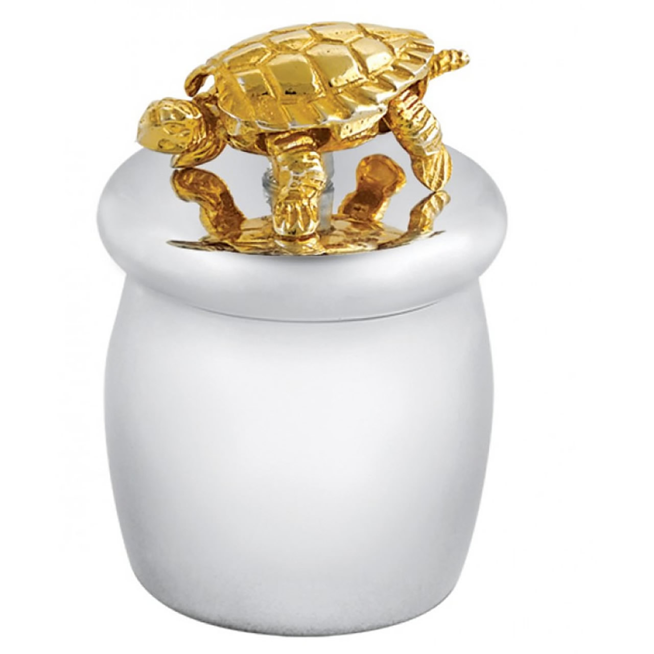 Sterling Silver Screw Top Tooth Fairy Box With Gold Plated Moving Turtle