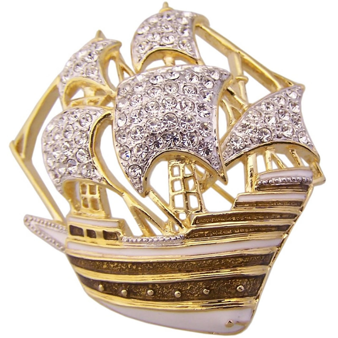 Gold Plated Traditional Mayflower Brooch With Silver Austrian Crystals