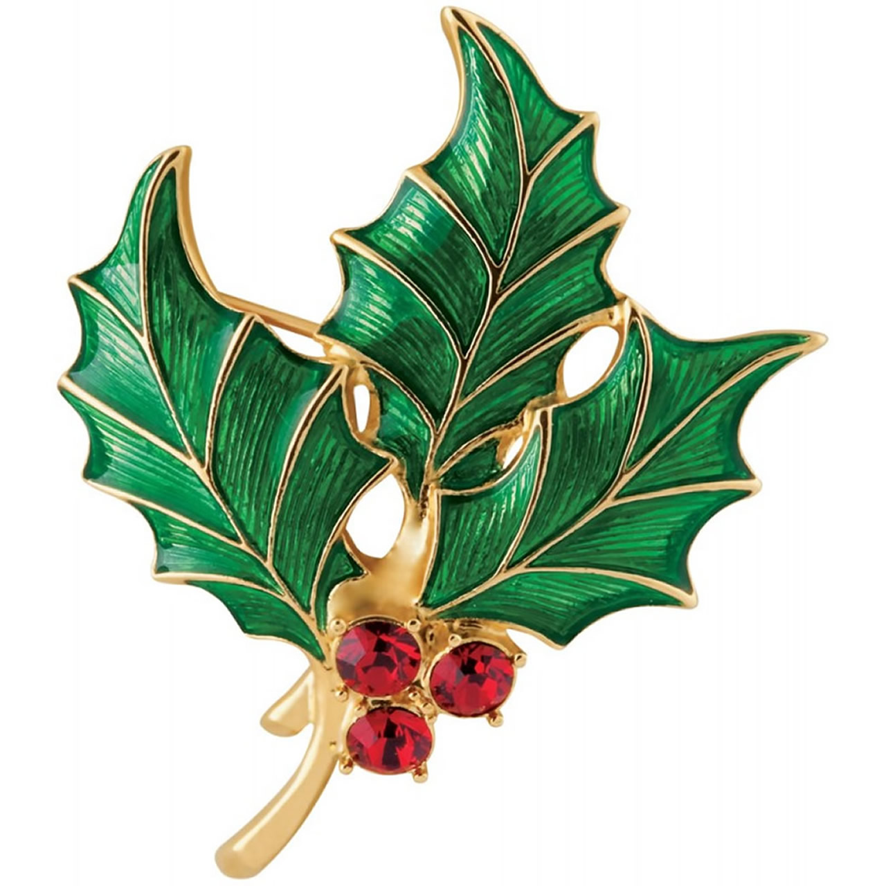 Highly Detailed, Gold Plated Holly Brooch With Red Austrian Crystals