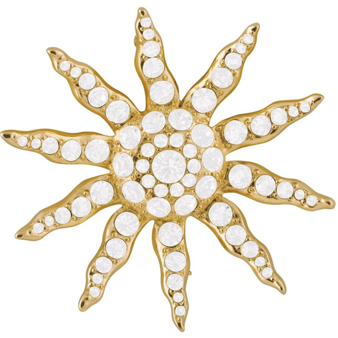 Gold Plated Victorian Sun Brooch With Silver Austrian Crystals