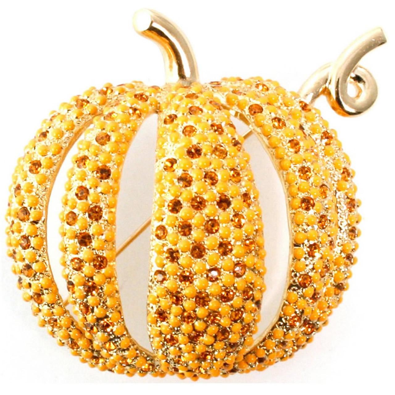 Unusual Gold Plated Orange Pumpkin Brooch