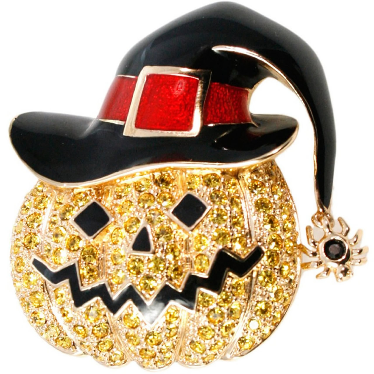 Gold Plated Funky Jack O'Lantern Brooch
