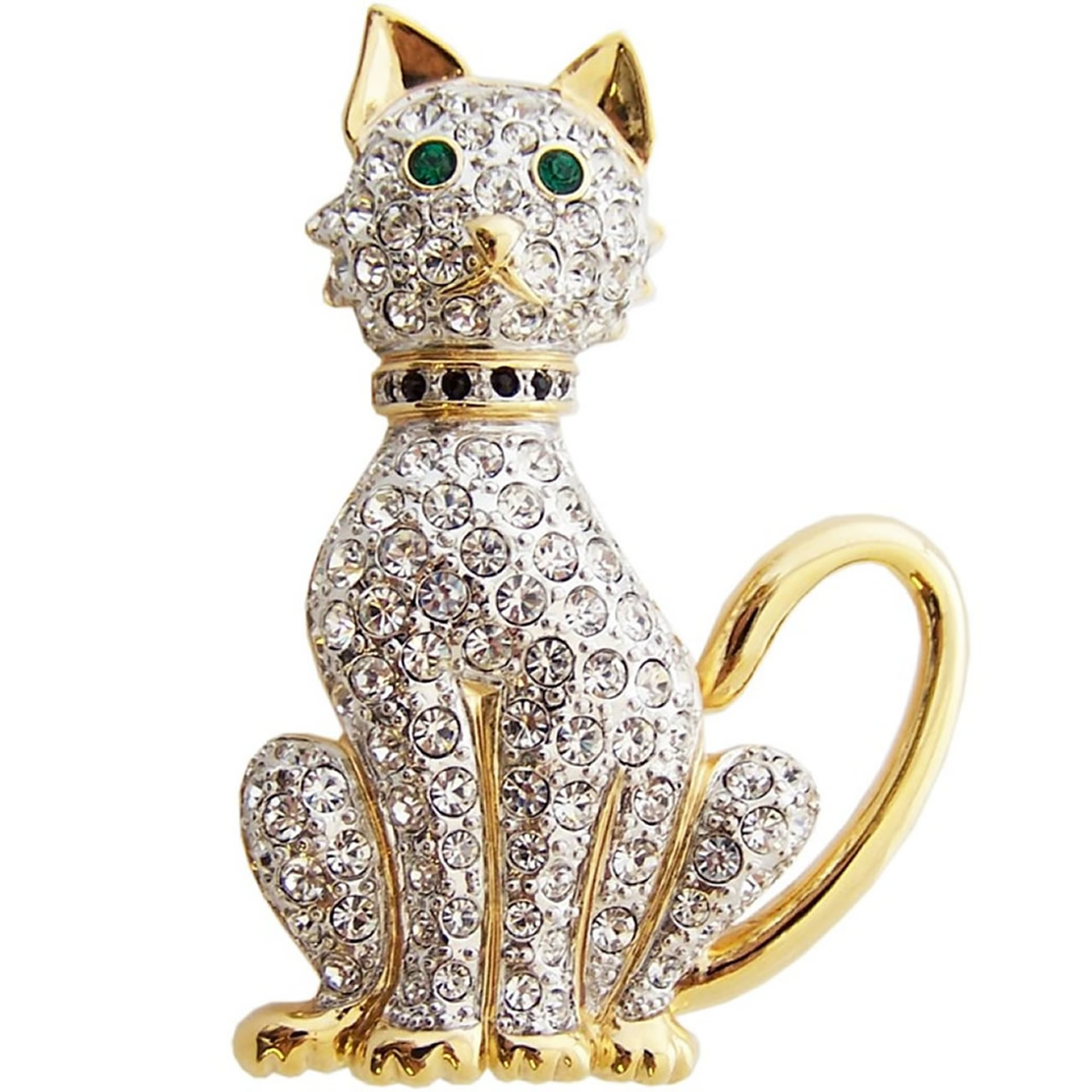 Gold Plated And Austrian Crystal Cat Brooch