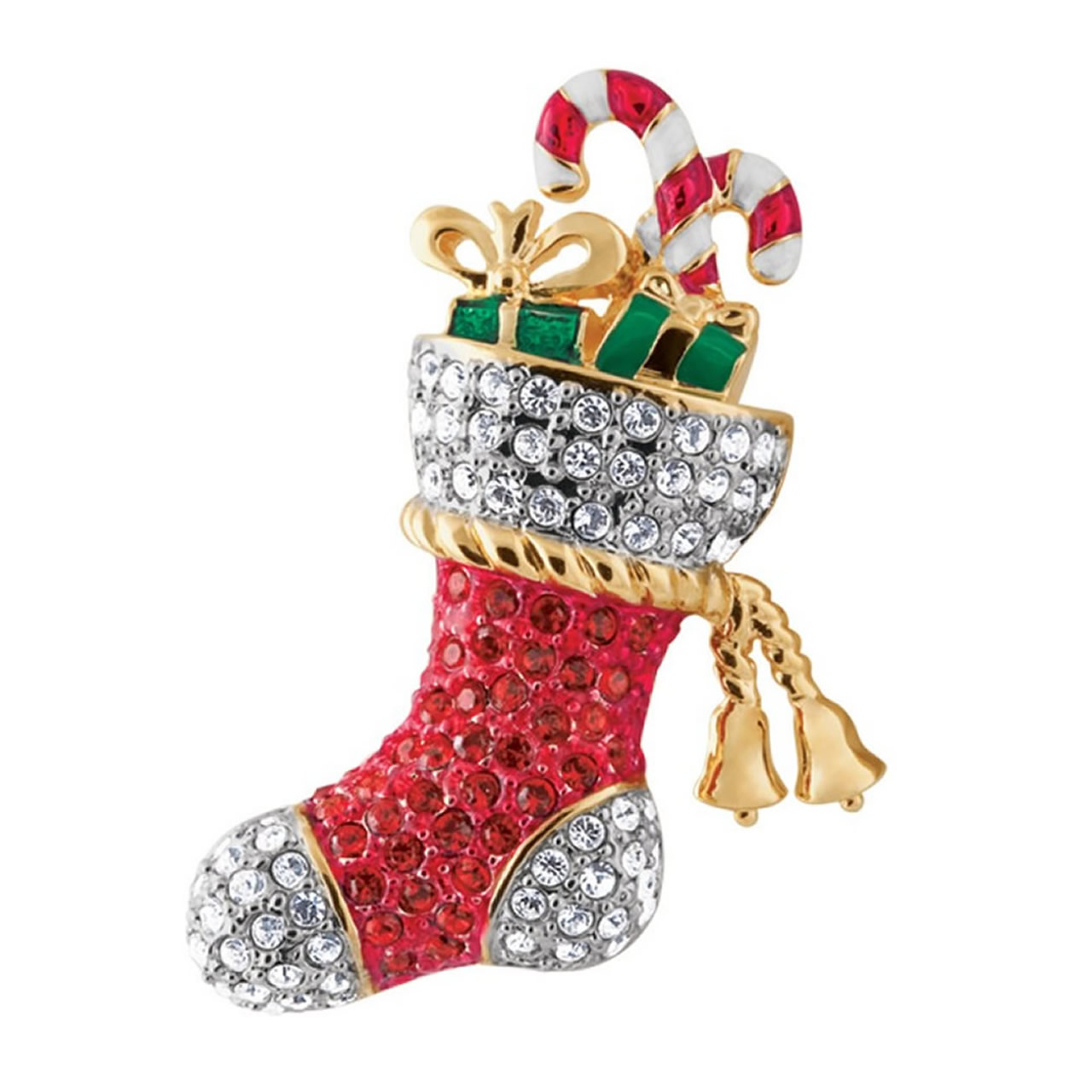 Gold Plated Christmas Stocking Brooch With Red And Silver Austrian Crystals