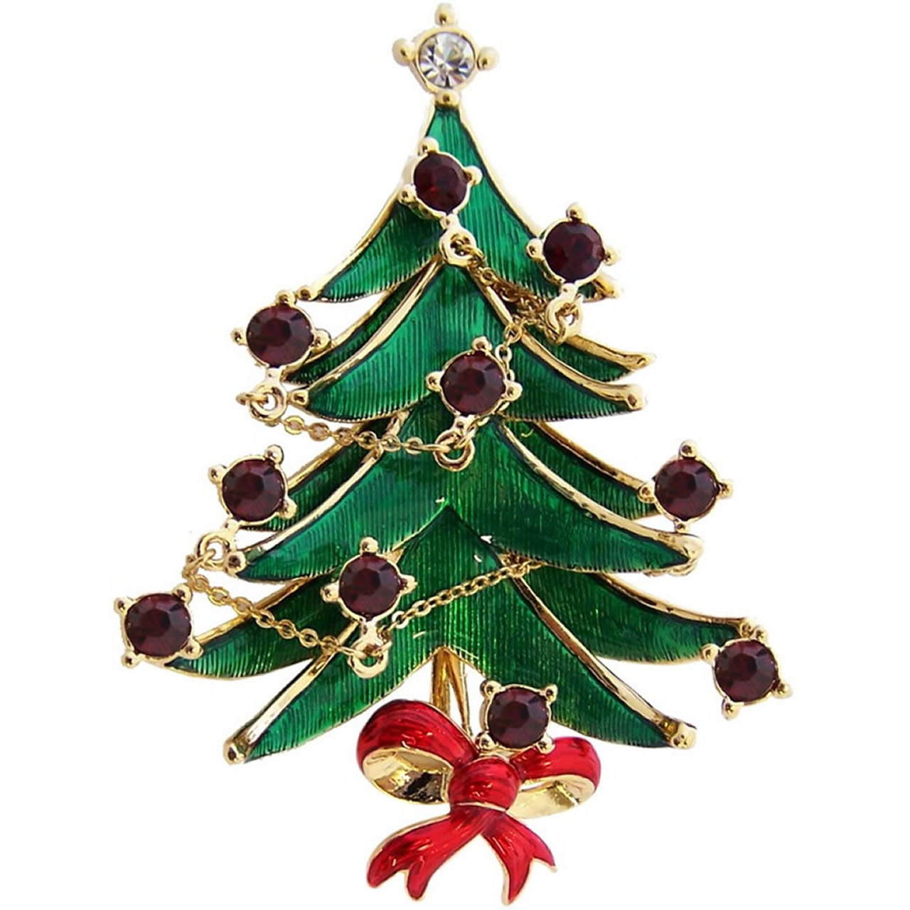 Gold Plated Classic Christmas Tree Brooch With Red And Silver Crystals