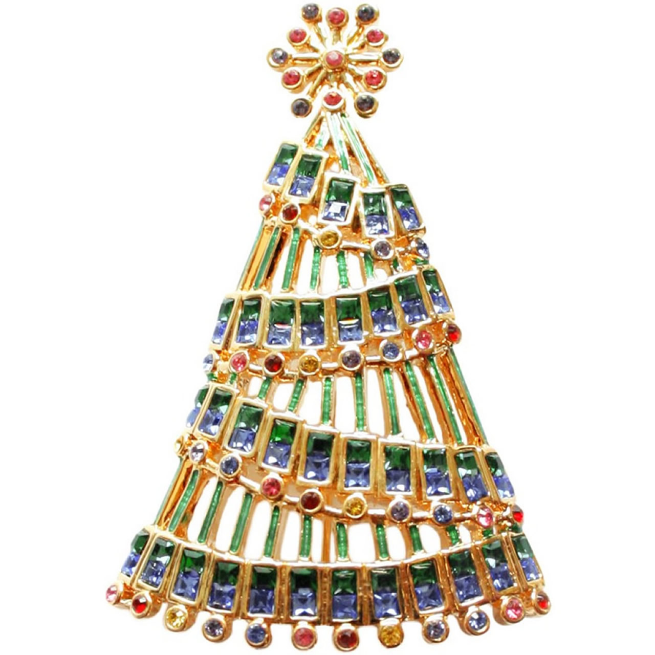 Gold Plated Garland Christmas Tree Brooch With Multi-Coloured Austrian Crystals