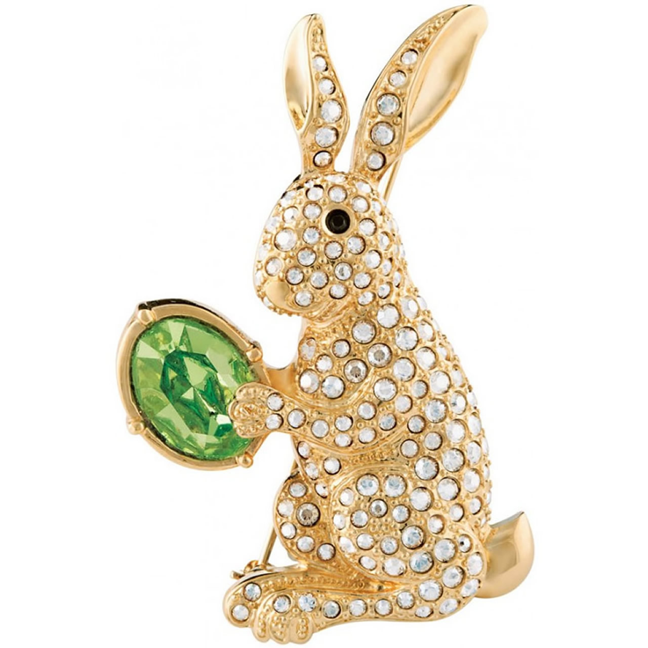 Silver, Green And Gold Plated Festive Easter Bunny Brooch