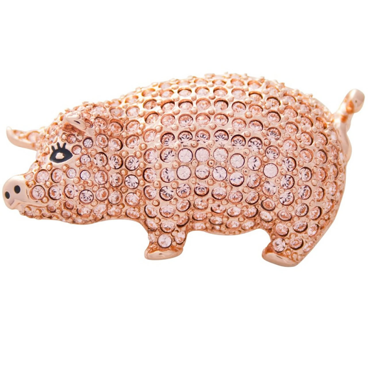 Austrian Crystal And Rose Gold Plated Pig Brooch