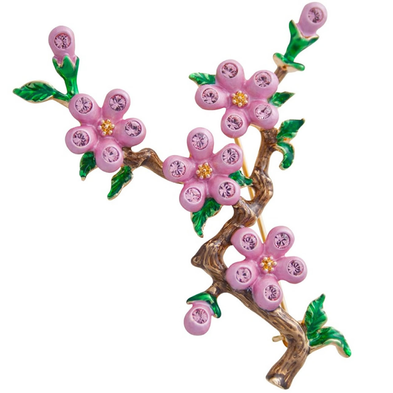 Gold Plated And Austrian Crystal Pink Cherry Blossom Brooch