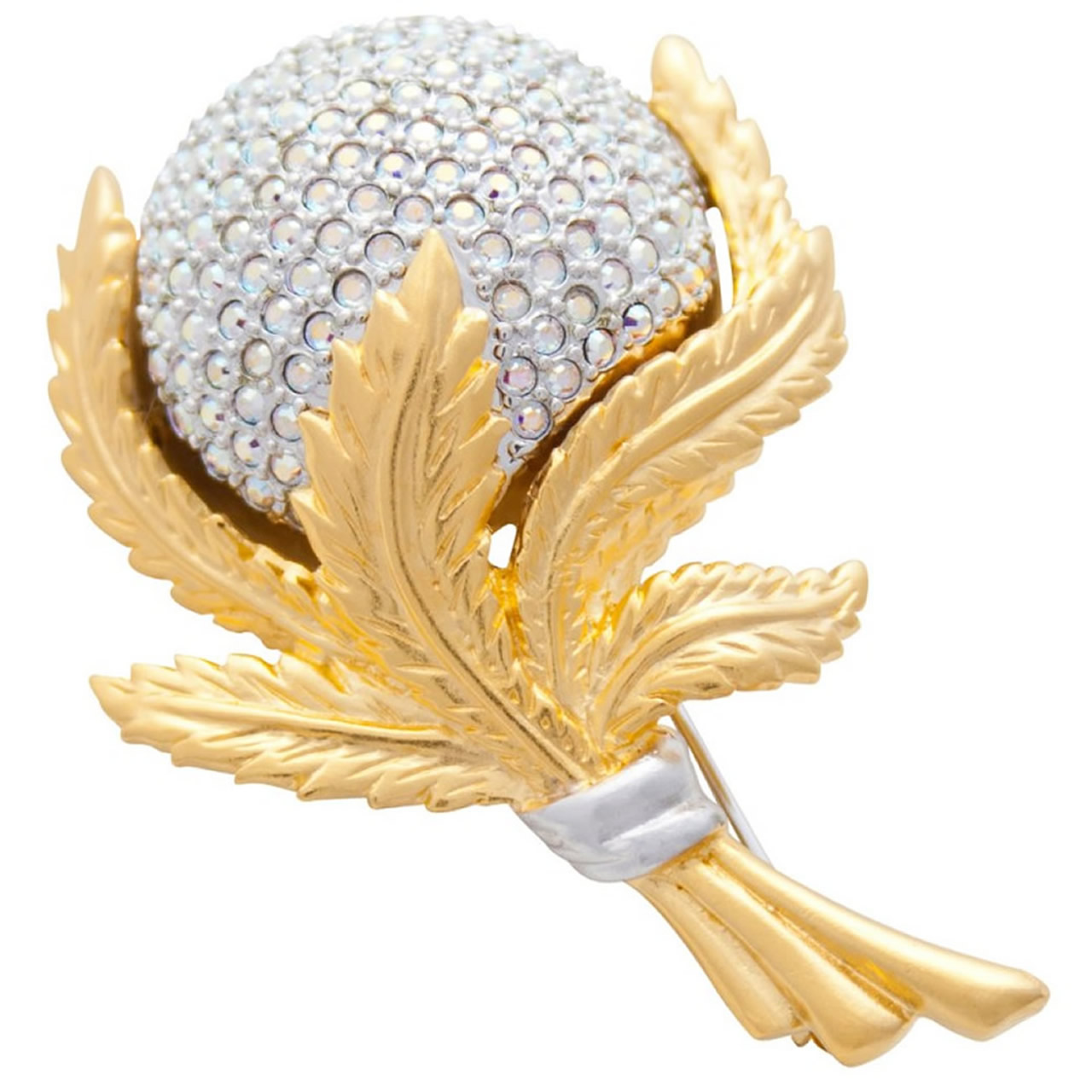Elegant Rhodium And Gold Plated And Austrian Crystal Flower Brooch