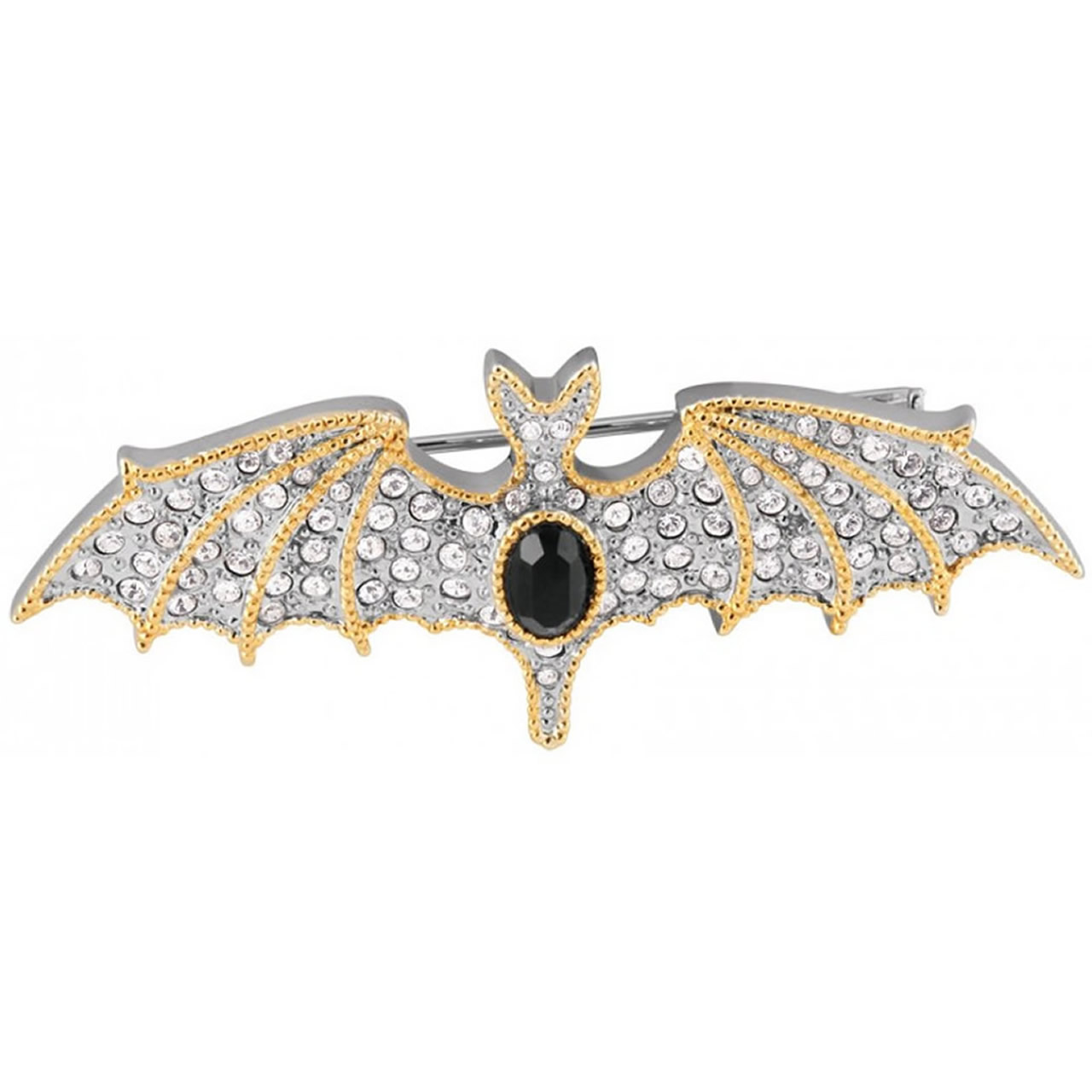 Unusual, Small Silver And Gold Crystal Bat Brooch